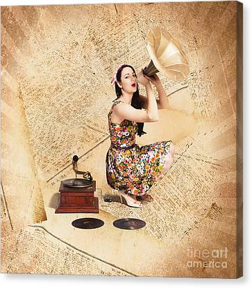 Live Music Pinup Singer Performing On Gig Guide Canvas Print by Jorgo Photography - Wall Art Gallery