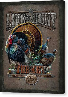 Live To Hunt Turkey Canvas Print by JQ Licensing