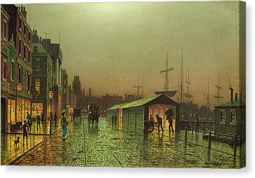 John Atkinson Grimshaw Canvas Print featuring the painting Liverpool Docks by John Atkinson Grimshaw