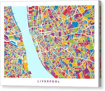 Liverpool England City Street Map Canvas Print by Michael Tompsett