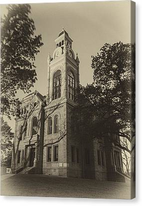 Llano County Courthouse - Vintage Canvas Print by Stephen Stookey