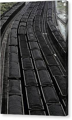 Loaded Coal Cars Sit In The Rail Yards Canvas Print by Everett