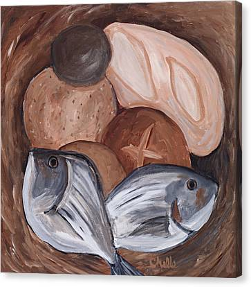 Loaves And Fishes Canvas Print by Chelle Fazal