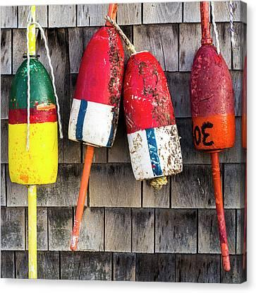Lobster Buoys On Shingle Wall - Cape Neddick -  Maine Canvas Print by Steven Ralser