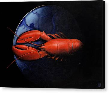 Lobster On Tiffany Plate Canvas Print by Lincoln Seligman