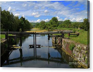 Lock Gates On The Old Canal Canvas Print by Louise Heusinkveld