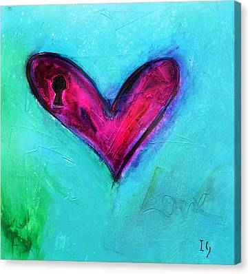 Locked Pink Heart Canvas Print by Ivan Guaderrama