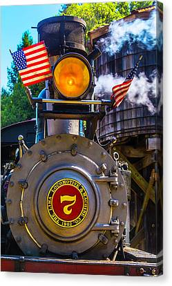 Locomotive And American Flag Canvas Print by Garry Gay