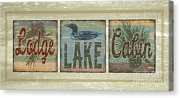 Lodge Lake Cabin Sign Canvas Print by Joe Low
