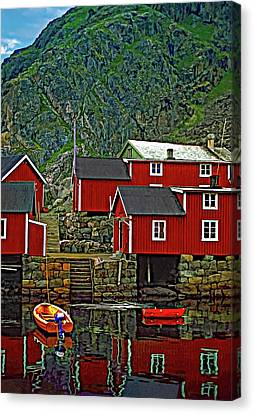 Lofoten Fishing Huts Canvas Print by Steve Harrington