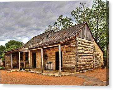 Log Cabin In Lbj State Park Canvas Print by David and Carol Kelly