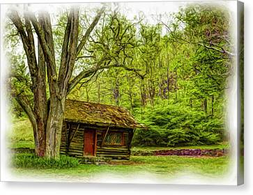 Log Cabin In The Woods Canvas Print by Geraldine Scull