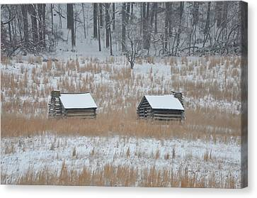 Log Cabins In Valley Forge Canvas Print by Bill Cannon