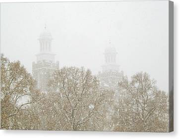 Logan Temple In Snow Canvas Print by Greg Collins