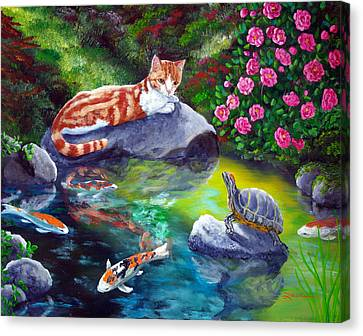 Loki Meets A Turtle Canvas Print by Laura Iverson