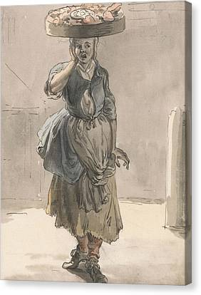 London Cries - A Girl With A Basket On Her Head Canvas Print by Paul Sandby