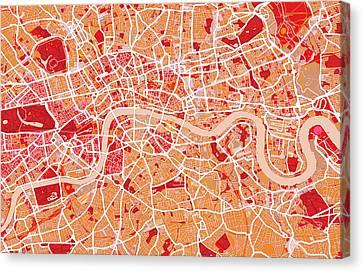 London Map Art Red Canvas Print by Michael Tompsett