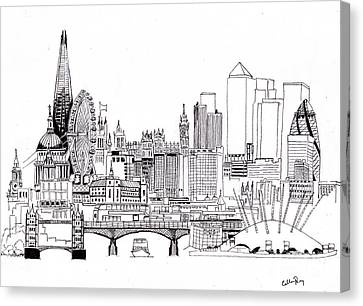 London Medley Monochrome Canvas Print by Callan Percy