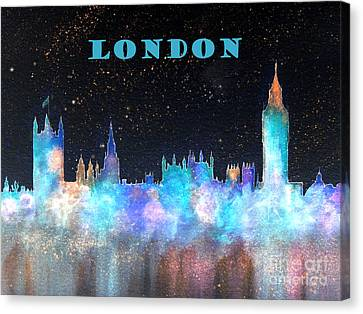 London Skyline With Banner Canvas Print by Bill Holkham