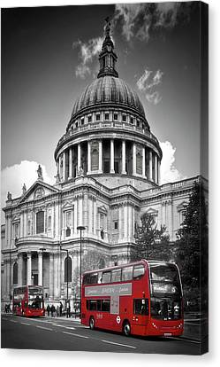 London St. Pauls Cathedral And Red Bus Canvas Print by Melanie Viola
