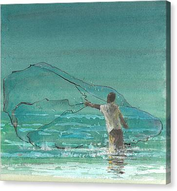 Lone Fisherman Three Canvas Print by Lincoln Seligman