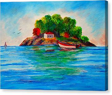 Lonely Island In Greece Canvas Print by Constantinos Charalampopoulos
