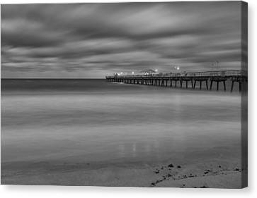 Lonely Morning At The Pier Canvas Print by Andres Leon