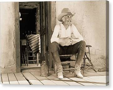Lonesome Dove Gus On Porch Signed Print Canvas Print by Peter Nowell
