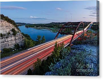 Long Exposure View Of Pennybacker Bridge Over Lake Austin At Twilight - Austin Texas Hill Country Canvas Print by Silvio Ligutti