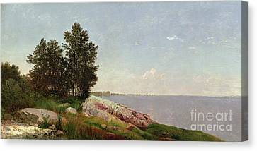 Long Island Sound At Darien Canvas Print by John Frederick Kensett