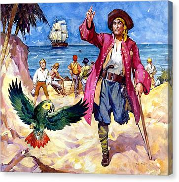 Long John Silver And His Parrot Canvas Print by James McConnell