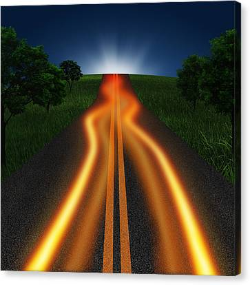 Long Road In Twilight Canvas Print by Setsiri Silapasuwanchai