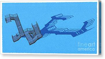 Long Shadow Of Stair 42 Negative Blue Architect Architecture Canvas Print by Pablo Franchi