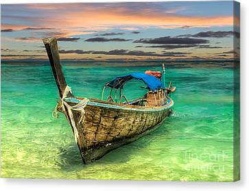 Longboat Sunset Canvas Print by Adrian Evans