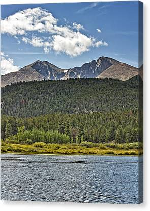 Longs Peak And Mount Meeker Above Lily Lake In Rocky Mountain National Park Colorado Canvas Print by Brendan Reals