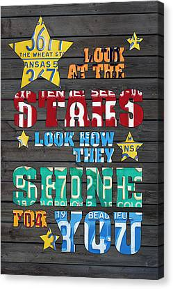 Look At The Stars Coldplay Yellow Inspired Typography Made Using Vintage Recycled License Plates Canvas Print by Design Turnpike