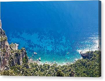 Looking Down Cliff Onto Mediterranean Sea Canvas Print by Susan Schmitz
