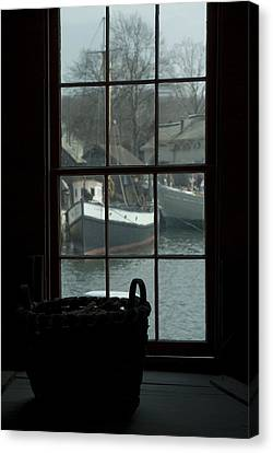 Looking Out Through A Window At Wooden Canvas Print by Todd Gipstein