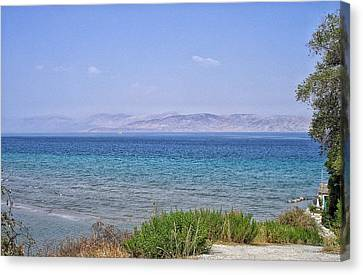 Greek Island Blues  Canvas Print by Connie Handscomb