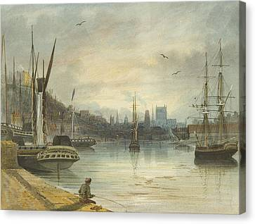 Looking Up The Floating Harbor Towards The Cathedral Canvas Print by Thomas Leeson the Elder Rowbotham