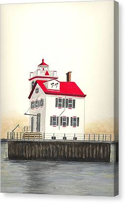 Lorain Lighthouse Canvas Print by Michael Vigliotti