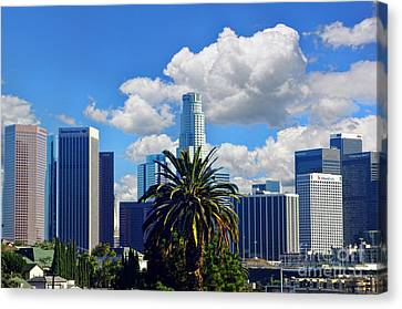Los Angeles And Palm Trees Canvas Print by Mariola Bitner