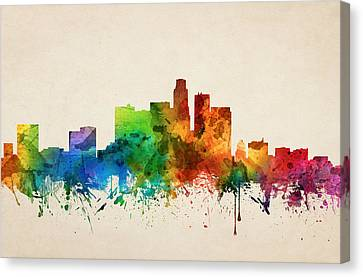 Los Angeles California Skyline 05 Canvas Print by Aged Pixel
