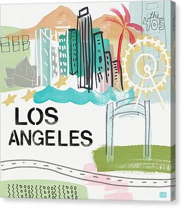Los Angeles Cityscape- Art By Linda Woods Canvas Print by Linda Woods
