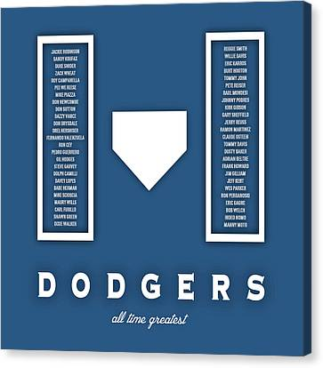 Los Angeles Dodgers Greatest Canvas Print by Damon Gray