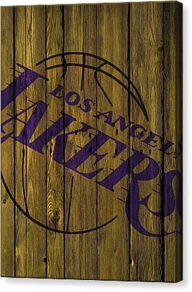 Los Angeles Lakers Wood Fence Canvas Print by Joe Hamilton