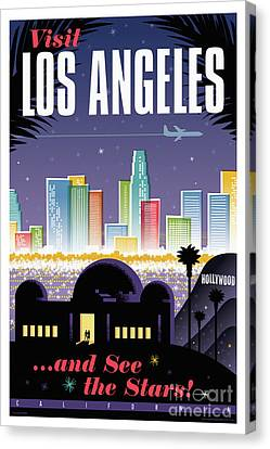 Los Angeles Retro Travel Poster Canvas Print by Jim Zahniser