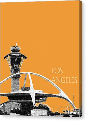 Los Angeles Skyline Lax Spider - Orange Canvas Print by DB Artist
