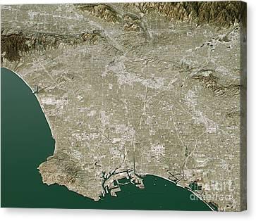 Los Angeles Topographic Map 3d Landscape View Natural Color Canvas Print by Frank Ramspott