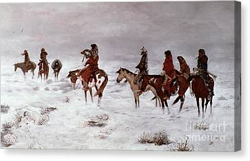 'lost In A Snow Storm - We Are Friends' Canvas Print by Charles Marion Russell